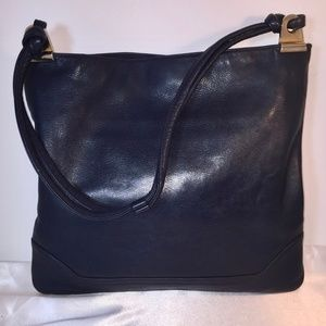 Susan Gail Black Leather Shoulder Bag